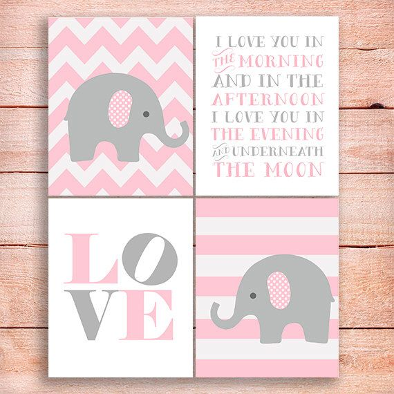 Elephant pink gray Nursery art, Elephants Nursery print, pink Nursery, Nursery Elephant decor Set of 4 prints, I love you in the morning art by OnlyPrintableArts on Etsy https://www.etsy.com/listing/185571196/elephant-pink-gray-nursery-art-elephants