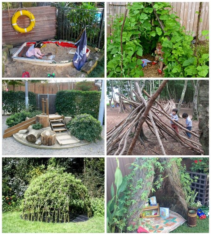 Wonderful ideas for outdoor play areas, dens and nooks!