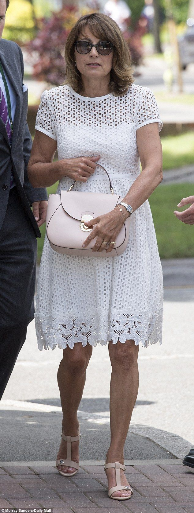 Copying the players, Carole? The Duchess of Cambridge's mother looked relaxed as she arriv...