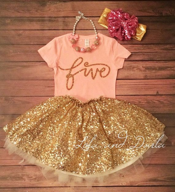 Number FIVE gold glitter birthday girl by LolaandDarlaDesigns