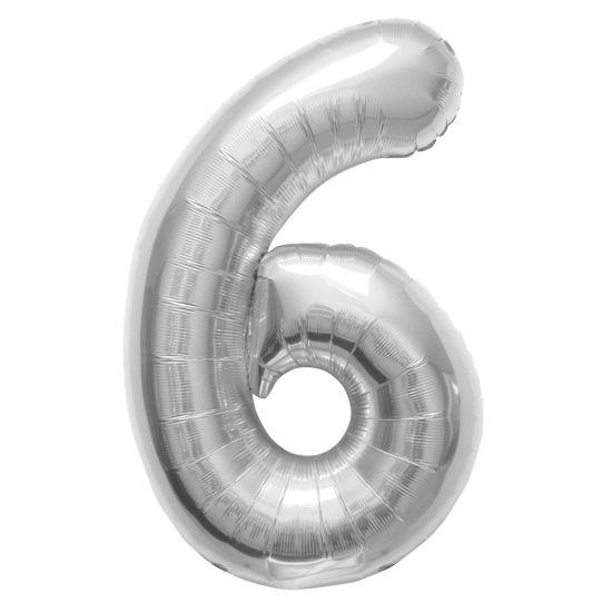 Verjaardags Helium ballon cijfer 6 zilver. Een zilverkleurige folie ballon in de vorm van het cijfer 6. De ballon wordt gevuld met helium bij u bezorgd. De ballon is opgeblazen ongeveer 86 cm groot. Deze folie ballon wordt gevuld met helium geleverd en kan derhalve niet worden geretourneerd.
