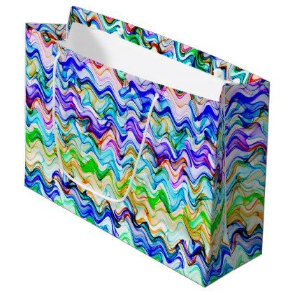 Cool Multicolored Wavy Zig Zag Pattern Large Gift Bag - patterns pattern special unique design gift idea diy