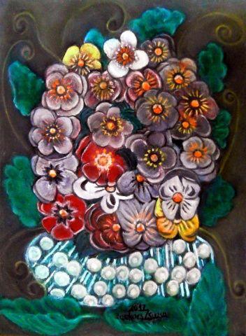 Árvácskák - Virágok, olajfestmények