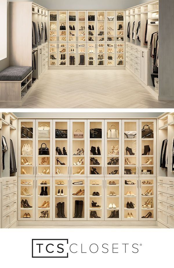 Isn't it time your master closet showcased your wardrobe? TCS Closets is the custom, built-in closet solution you've always dreamed of! Elegant glass-front doors and LED lighting make shoes and purses look like works of art. You'll feel like you're stepping into your favorite boutique every time you enter your master closet!