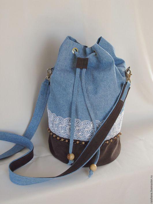 Женские сумки ручной работы. Ярмарка Мастеров - ручная работа. Купить джинсовая сумка-торба. Handmade. Голубой, сумка из ткани
