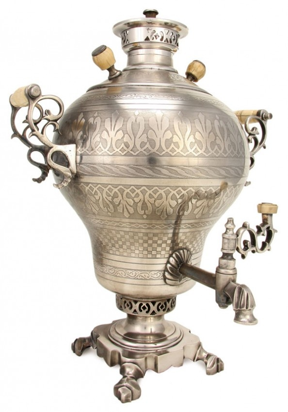 Russian Engraved Samovar.  RUSSIAN SILVER PLATED AND CHASED SAMOVAR, 19TH CENTURY