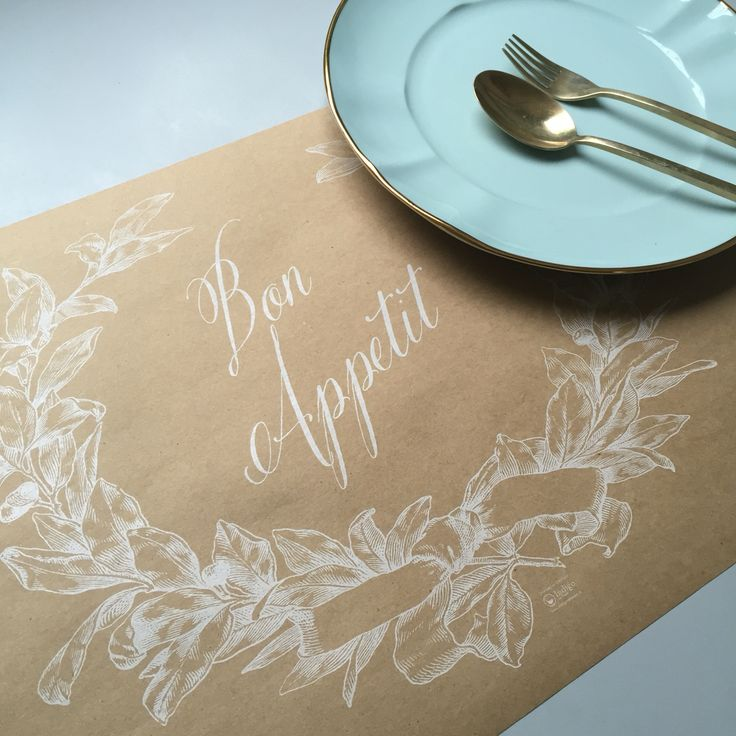 White printing for Bon Appetit design placemat