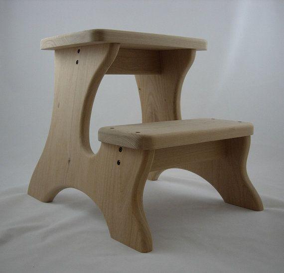 Wooden Stools Unfinished | Extra Deep Step Stool, Wooden, Wood, Alder, Unfinished, Tip-Resistant ...