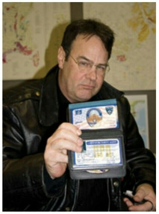 '''.Dan Aykroyd conducted by New Hampshire Magazine Editor Rick Broussard. Aykroyd wearing a black leather motorcycle jacket ...''' http://www.nhmagazine.com/April-2010/Interview-With-Dan-Aykroyd/