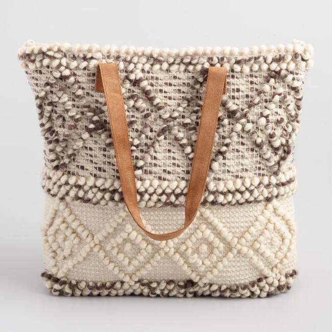 a7a3527971 World Market Ivory and Gray Woven Wool Tote Bag