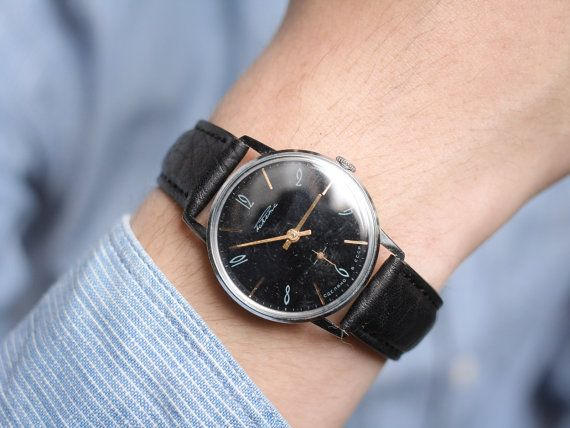 Classical black watch Raketa  unisex wrist watch  by somesoviet