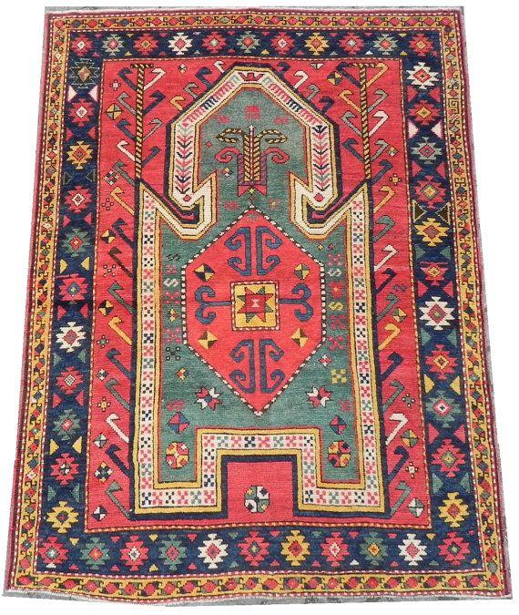An Extremely Rare Antique Caucasian Sewan Kazak Prayer Rug