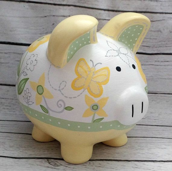 If you are looking for the perfect, heirloom quality final touch to your babys one of a kind nursery, or a heartwarming, personalized gift for a new baby coming into the world: Here it is! The recipient will treasure this custom item forever. It can be personalized with any name or saying for no extra charge.  These custom piggy banks can be designed to match any decor at all. If you dont see what you are looking for in my shop, feel free to message me and we can discuss designs for your…