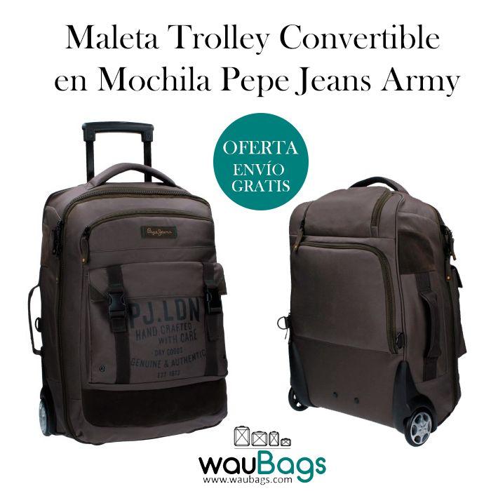 Maleta Trolley Pepe Jeans Army convertible en mochila con 2 ruedas de giro multidireccional para facilitar su uso. Dispone de un compartimento principal con cierre de doble cremallera y correas de cierre tridente en el exterior, un bolsillo delantero para llevar los accesorios más pequeños, un asa tanto en la parte superior como en un lateral y un compartimento en la parte trasera para guardar los tirantes. @waubags #pepejeans #maleta #trolley #convertible #mochila #viaje #oferta #waubags