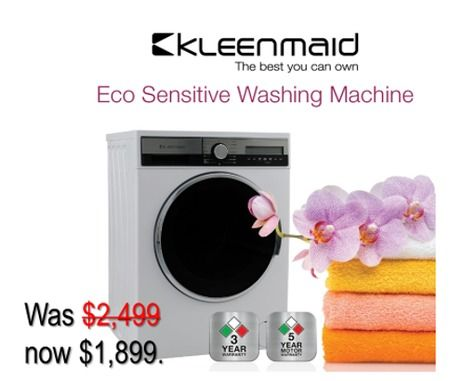 The Kleenmaid Front Load Washer is now even more affordable at ONLY $1,899.00 - Made in Europe with a 3-Year Warranty.