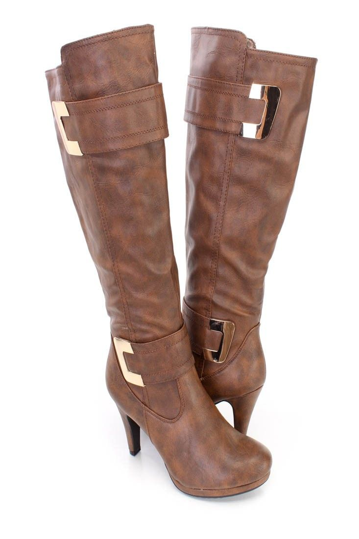 brown  high heels | Home / Brown Strappy High Heel Boots Faux Leather