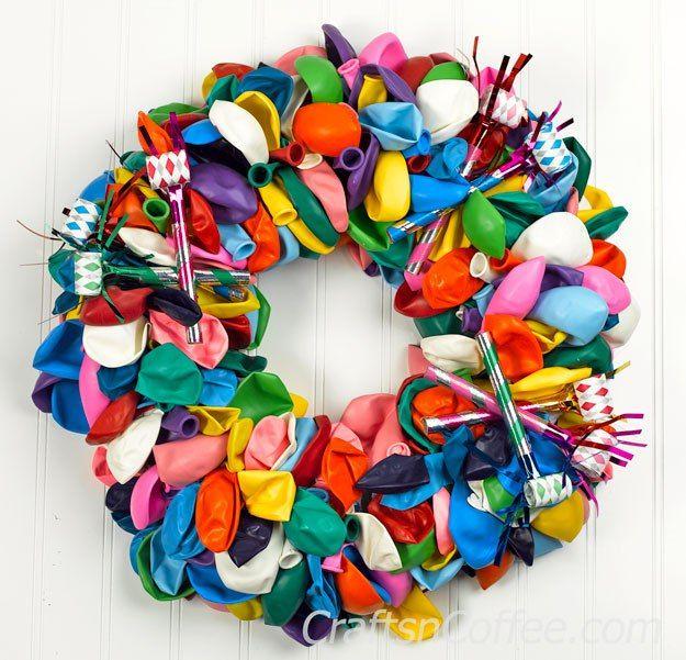 Easy tutorial for making a Birthday Balloon Wreath. Fun idea! CraftsnCoffee.com.