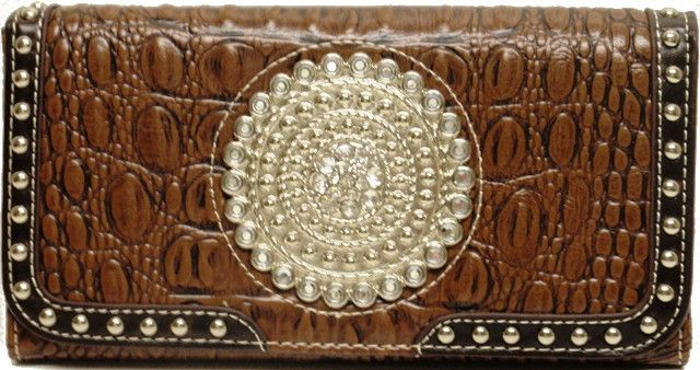 (MFWN7511602) Western Ladies' Brown Leather Wallet with Large Silver Concho