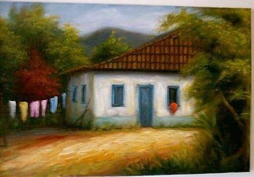 1 Quadro Decorativo Casario Em Pintura Óleo S/tela Comum - R$ 279,99 no MercadoLivre