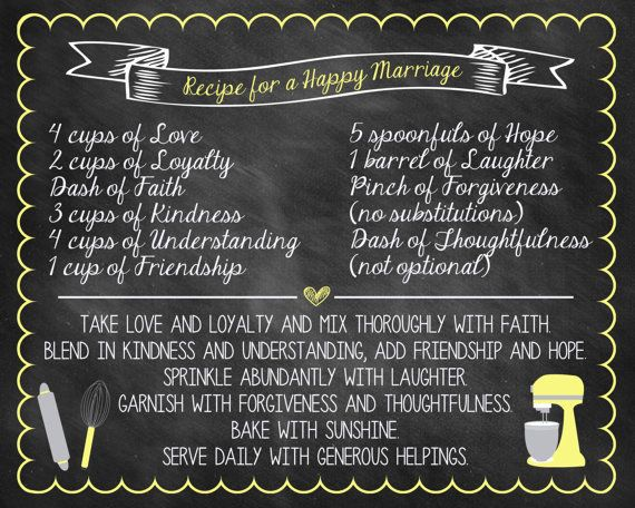 Printable Bridal Shower Recipe For A Happy Marriage Chalkboard Poster Size 16x20 Or Choose Color DIGITAL FILE