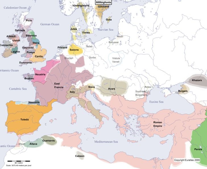 Europe Main Map at the Beginning of the Year 600 shows the beginning of the erosion of Justinian's conquests. The Lombard folk migration has deprived the East Romans of much of their non urban hold on Italy; the Visigoths have effectively ejected them from southern Spain, and Byzantine control over North Africa has been compromised by Berber expansion.