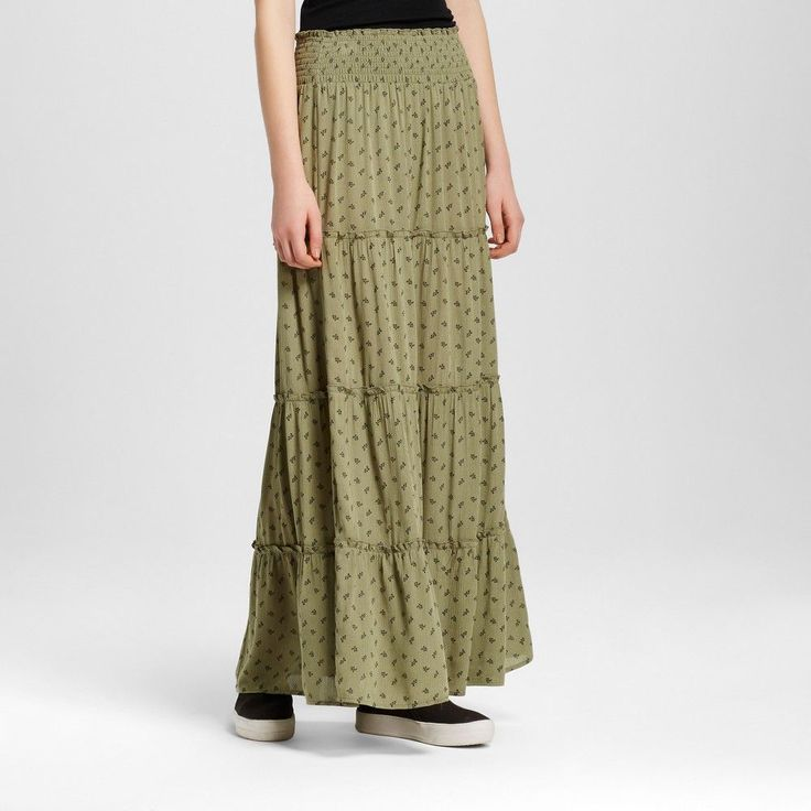 Women's Maxi Skirt Olive Print XL - Mossimo Supply Co.