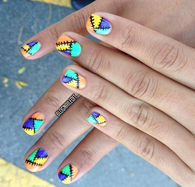 #NailTechNailedIt: Patchwork Halloween nail art