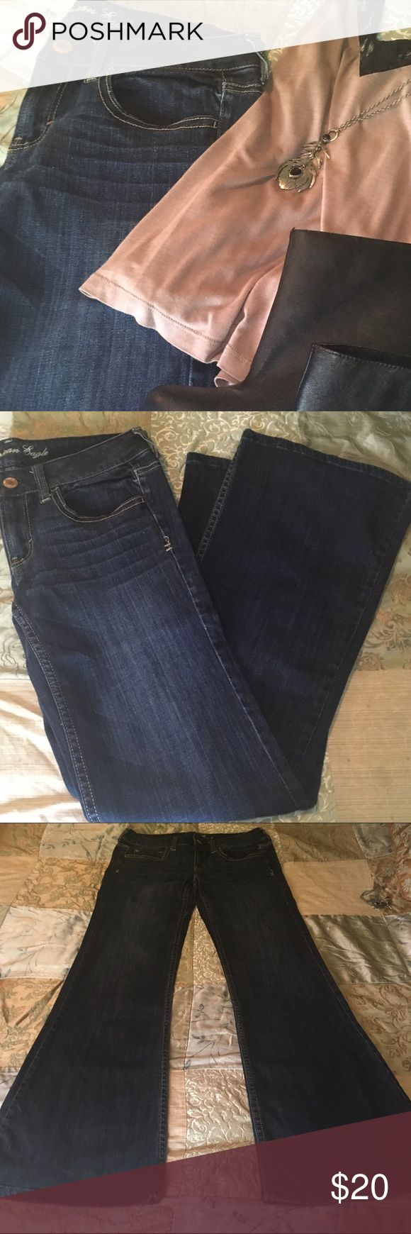 American Eagle Jeans AE Outfitters Hipster Flare Jeans size 6 long. 4 pairs available, 2 are in like new condition, 2 are in very good condition but have slight wear along bottom seem (picture 4). Price is for one pair. Jeans are 98% cotton 2% spandex and have slight stretch. American Eagle Outfitters Jeans Flare & Wide Leg