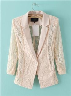 Sexy Solid Color Lace Long Sleeve Slim Blazer