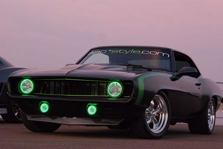 1969 Black Camaro with green halo lights | Muscle Cars ...