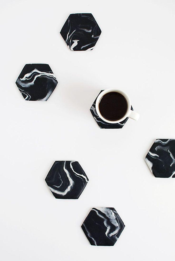 Black Marble Hexagon Coasters DIY