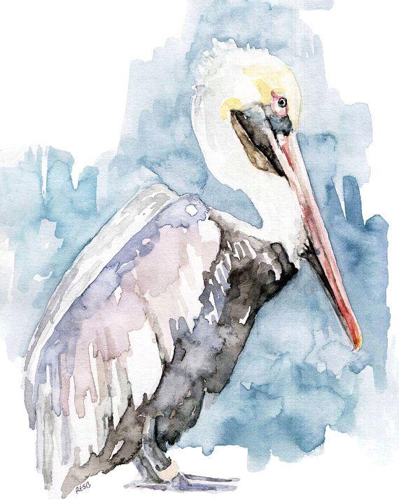 Pelikan-Malerei Druck aus Original von TheColorfulCatStudio