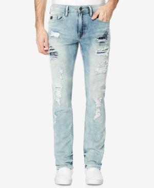 Buffalo David Bitton Men's Pale Blue Ripped Jeans - Blue 30x32