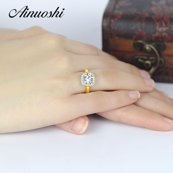 AINUOSHI 10 K Yellow Gold Ring Kussen Cut Halo Vrouwen Verlovingsringen Sona Gesimuleerde Diamond Wedding Engagement Band Ringen