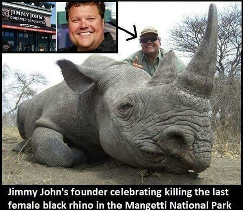 Founder of Jimmy John's sandwiches celebrates killing last black rhino & being an a**hole.