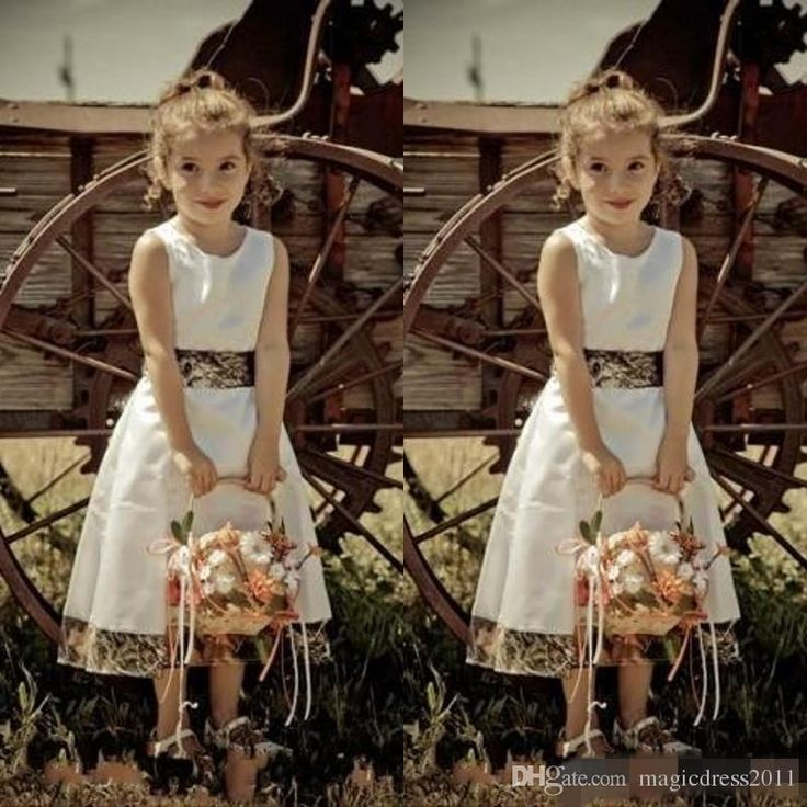 Camo Flower Girl Dresses Jewel Neck Zipper Back Tea Length White A Line Custom Made Cheap 2017 Camouflage Wedding Guest Dress Flowers Girl Pageant One Shoulder Online with $80.0/Piece on Magicdress2011's Store | DHgate.com