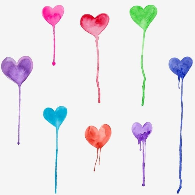 Watercolor Hearts Dripping Drips Messy Rainbow Png Transparent Clipart Image And Psd File For Free Download Watercolor Heart Rainbow Clipart Clip Art