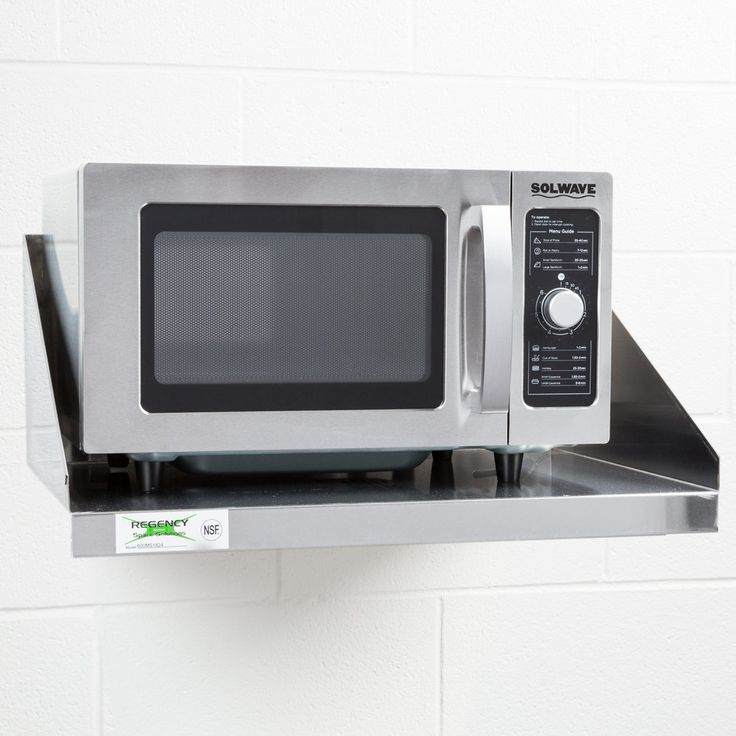 "This 24"" x 18"" microwave shelf offers a unique combination of affordability and durability with its 18-gauge type 430 stainless steel construction. This microwave wall shelf is ideal for maximizing storage space above stoves, sinks, and other kitchen equipment and has a maximum capacity of 140 lb. Simply mount your microwave shelf to any wall using L brackets and place your microwave on top; it's as easy as that! Now you can marvel at the extra countertop space you have…"