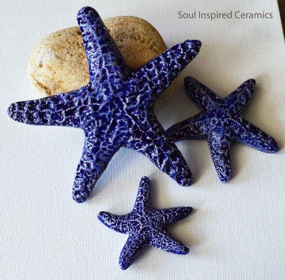 Set of 3 Ceramic Starfish 4.5  3  2 in by SoulInspiredCeramics