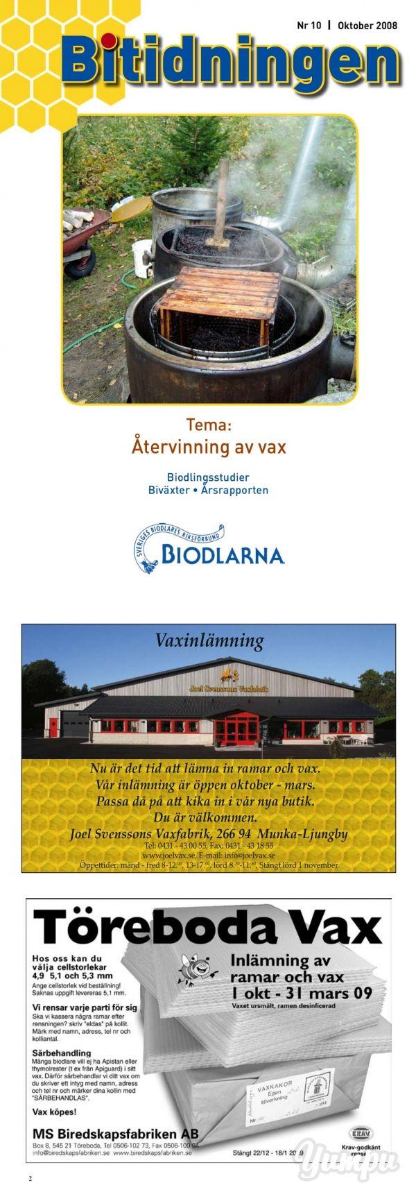 Bitidningen 2008 10 - Sveriges Biodlares Riksförbund - Magazine with 32 pages: Bitidningen 2008 10 - Sveriges Biodlares Riksförbund