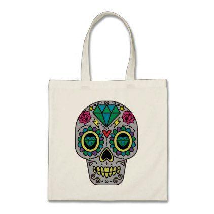 #Funky Sugar Skull Design Boho Love Tote Bag - #Halloween happy halloween #festival #party #holiday