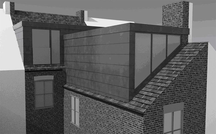 An illustration of a L-shaped dormer loft conversion