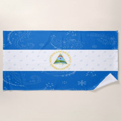 Nicaragua Flag Beach Towel - trendy gifts cool gift ideas customize