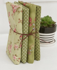 Bouquet Rose 4different Kind Green Quilt Fabric Bundle