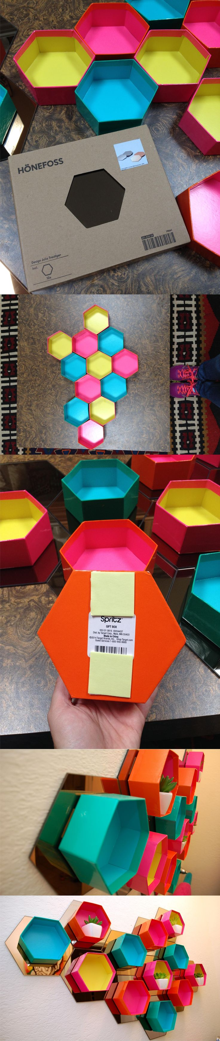 Estantería hexagonal con cajas y espejos - jenniferperkins.com - DIY Easy Hexagonal Shelves