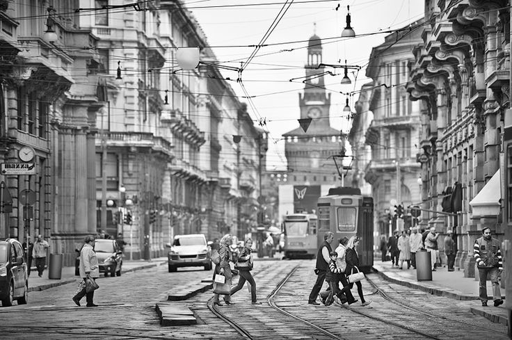Tram and People of Milan Italy Black and White Photo542