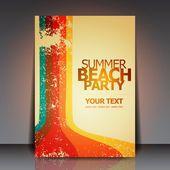 Летом пляж Ретро вечеринка Flyer Eps10 Векторный дизайн — Cтоковый вектор