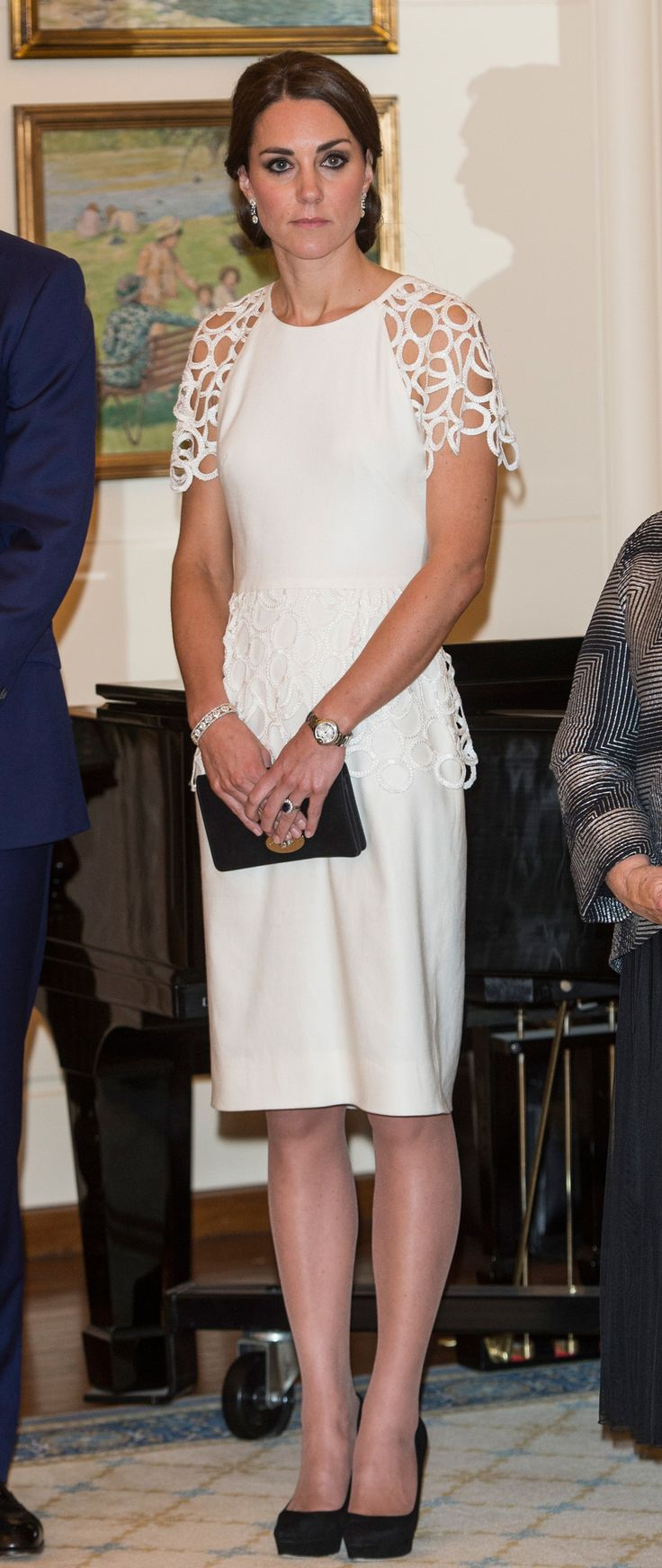 CANBERRA, AUSTRALIA -  Catherine, Duchess of Cambridge attends a reception hosted by the Governor General Peter Cosgrove at Government House on April 24, 2014 in Canberra, Australia. The Duke and Duchess of Cambridge are on a three-week tour of Australia and New Zealand, the first official trip overseas with their son, Prince George of Cambridge.  (Photo by Pool/Samir Hussein/WireImage) via @AOL_Lifestyle Read