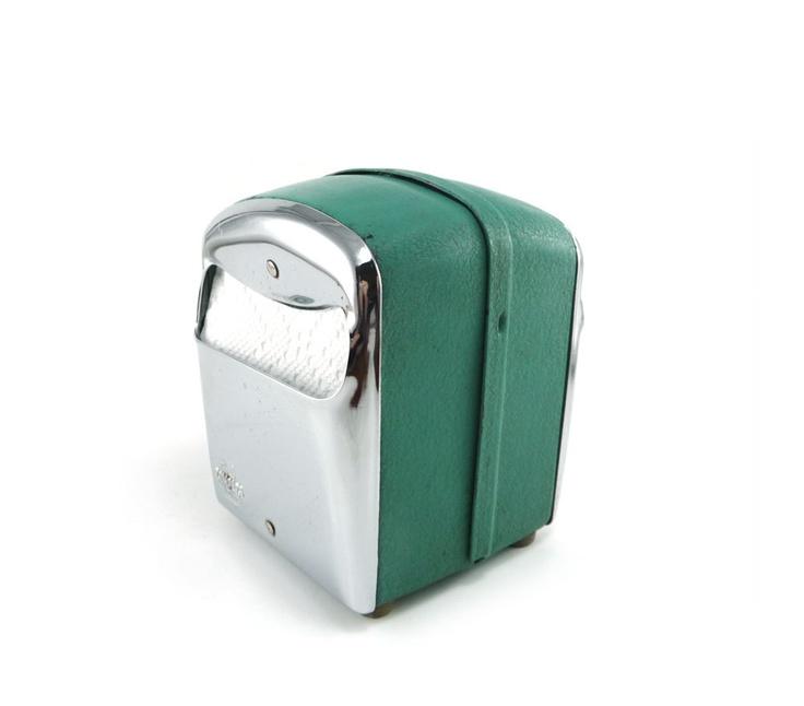 vintage diner napkin holder teal green chrome dispenser