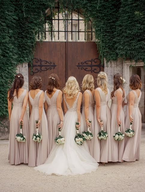 Becs and her girl squad are perfection in blush pink at chateau de Lisse